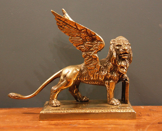 'The Lion of St. Mark' Venice. Small Brass Winged Lion.