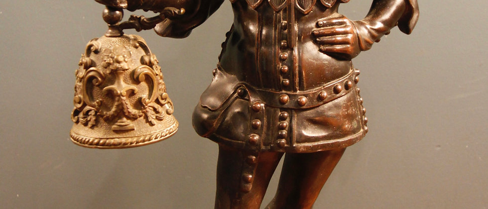 Amazing Bronze Character (possibly jester) Holding a working bell.