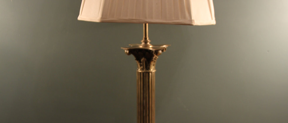 'Silvered' Large Lamp with Silk Shade.