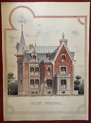 French Architectural Watercolours 1902 One House Four Angles.