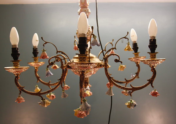 Colourful Brass and Ceramic Capodimonte Chandelier Light.