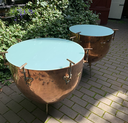 Amazing Pair of Copper and Brass Drum Coffee Tables.