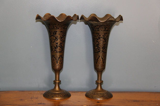 Pair of Brass Etched and Painted Vases.