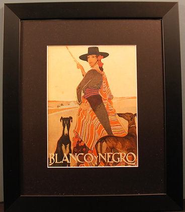 Blanco Y Negro Original Spanish Print. (Lady with Greyhounds)