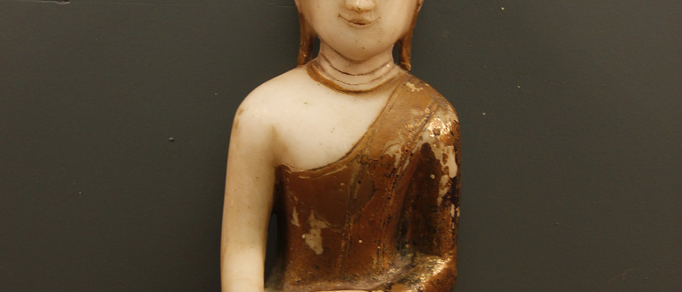 Lovely paint on Alabaster stone Buddha, needs a stand.