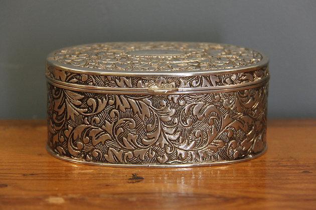 Pretty Silver Metal Box with Velvet Inside.
