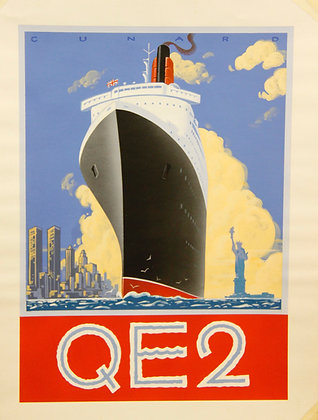 Small Vintage QE2 Ship in New York (not framed)