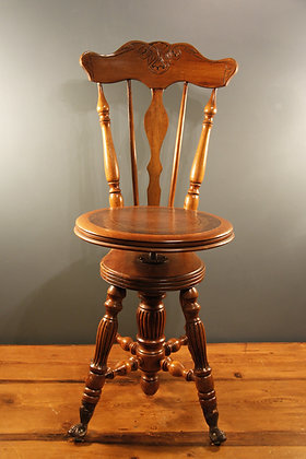 Adjustable Seat Height Wooden Music Chair, Leather Top Glass Eyed Serpent Feet!