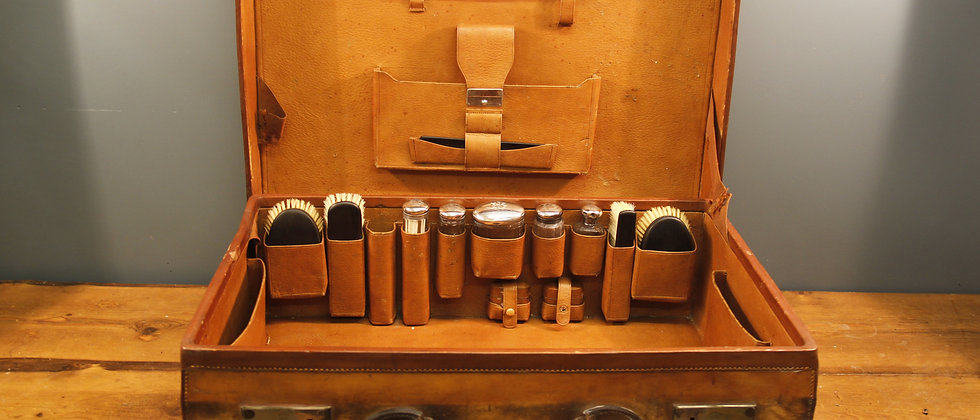 Beautiful Harrods Leather Suitcase with Silver/Glass bottles and Brushes