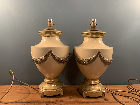 Pair of Quality Enamel and Brass Lamps