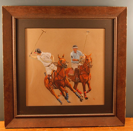 Pastel Picture of Two Polo Players By Carol Mason
