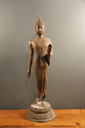 "Walking Buddha ""Fearlessness"" Bronze."