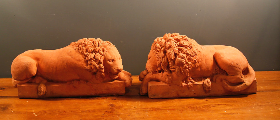 Beautiful Pair of Lions (not identical) Terracotta