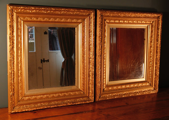 Pair of Antiqued Mirrors in Old Gilt Frames.
