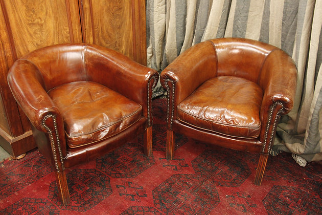 Pair of Leather Chairs, lovely quality.