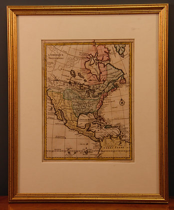 Framed map of L'Amerique C1750
