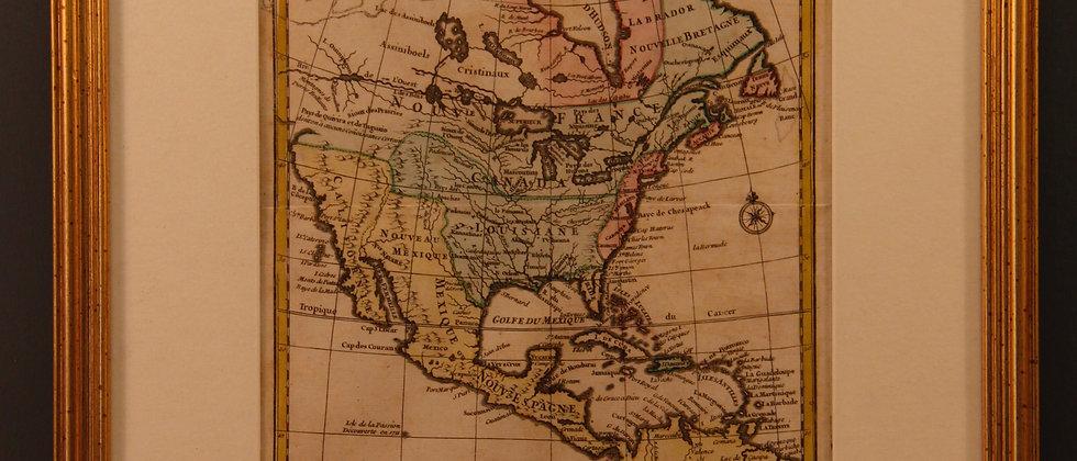 Framed map of L'Amerique C1750
