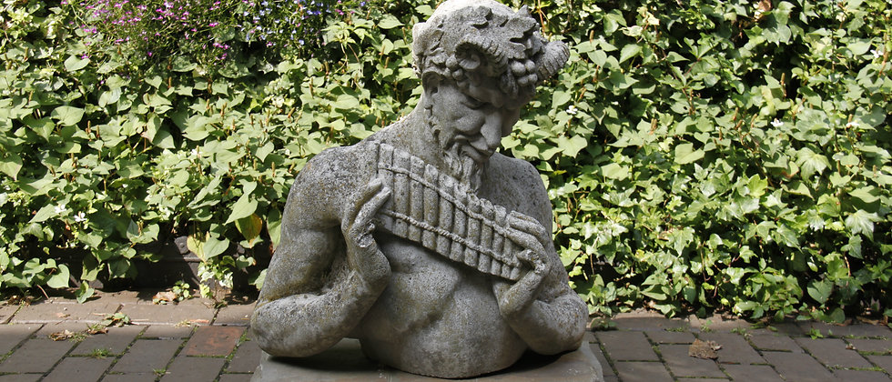 Pan! Full of Character, playing his flute. Bust.