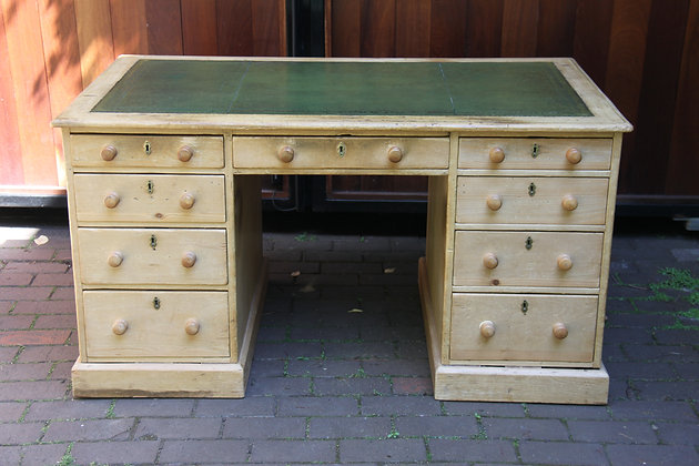 Double Sided Heavy Pine Desk with Green Leather Top