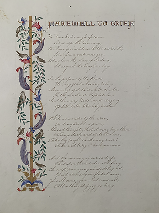 Poetry Written in Ink and Decorated With Hand Painted Water Colour c1840's