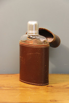 Vintage Flask Leather and Glass