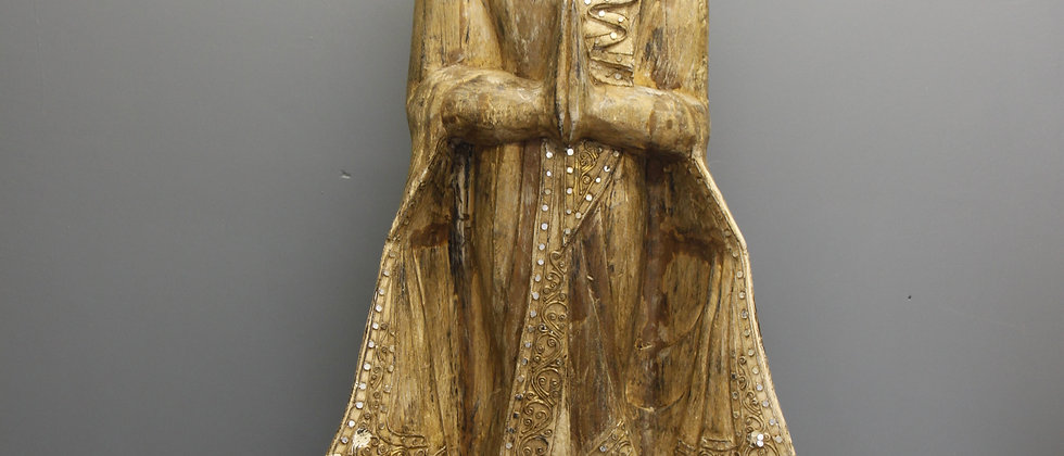 Wooden Buddha with Sequins