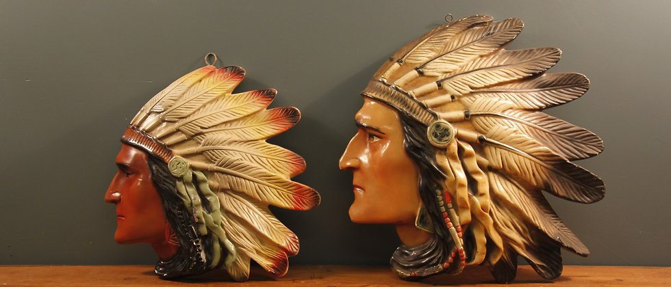Native American Indian Heads Ceramic Wall Mounts. Sold separately or as a pair
