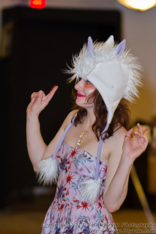Hat by Mary Kelly of Lollytots, Clothing by Amy Dotts, Jewelry by Viki