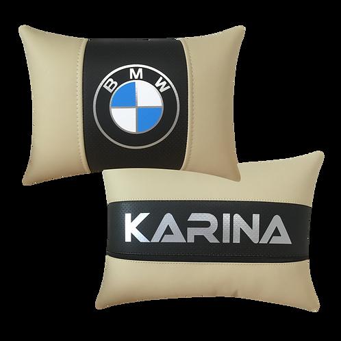 """Автоподушка """"BMW"""" Беж-Черная"""