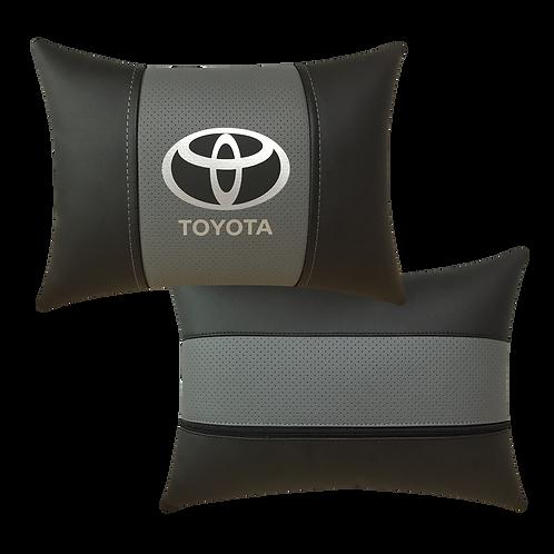 """Автоподушка """"Toyota"""" черно-св.серая"""