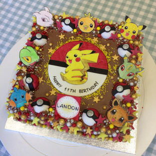 Pokemon themed birthday cake