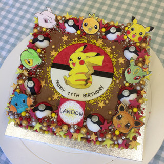 Pokemon themed birthday cake