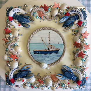 A cake for a lobsterman's birthday