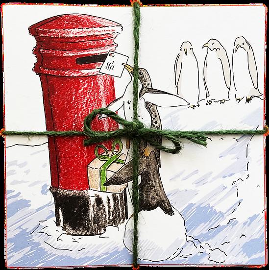 Festive greetings cards pack - Penguin post