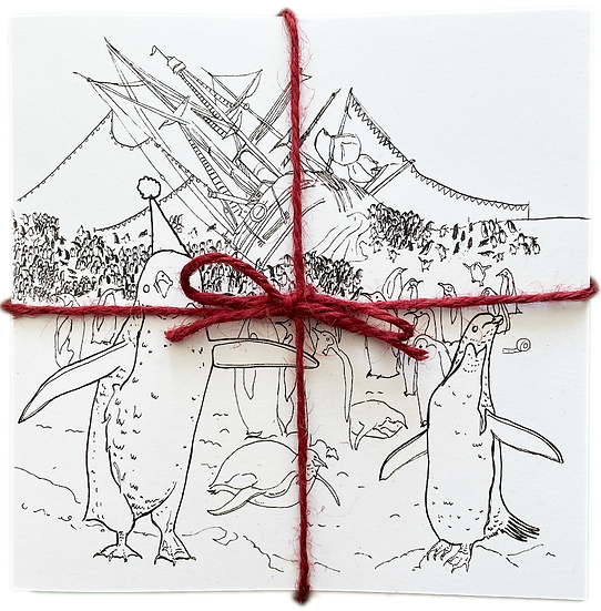 Festive greetings cards pack - Penguin colouring in