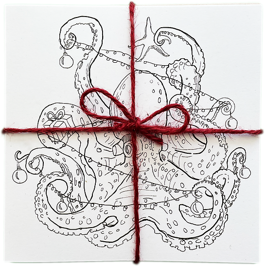 Festive greetings cards pack - Treetopus colouring in