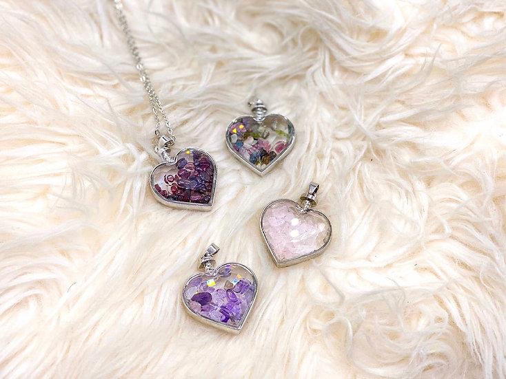 Colar Coração com cristais