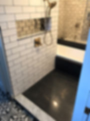 Custom Shower and Tub Tile White Subway and Mirror Tile