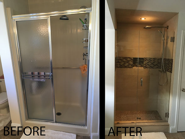 Custom Tile Shower with custom glass door