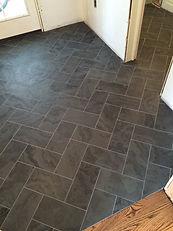 Custom Tile Slate Stone Marble Granite Herringbone Bathroom Laundry Kitchen Mudroom Entryway