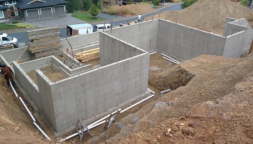 bare foundation and storm drain install.