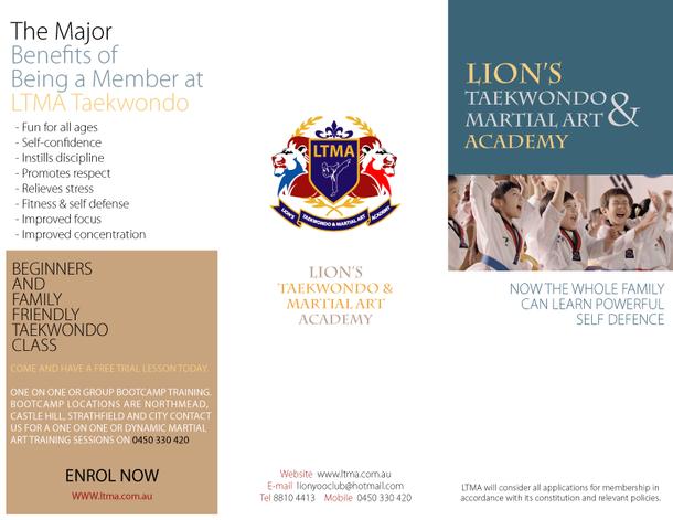 Lion's Taekwondo_Brochure_Outside