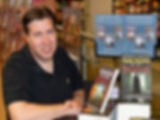 Andrew Langley author at a Waterstones book signing