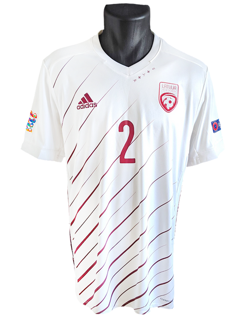 Latvia 2020/21 Away Matchworn Eduards Tīdenbergs