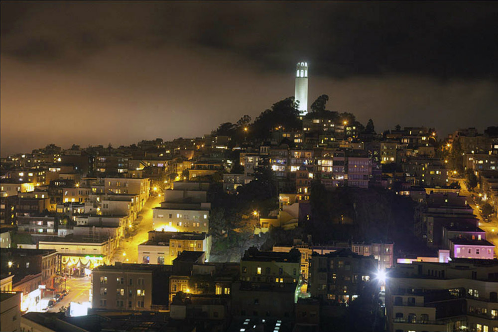 Coit Tower in S. F. at Night
