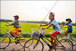Boys going fishing in Vietnam