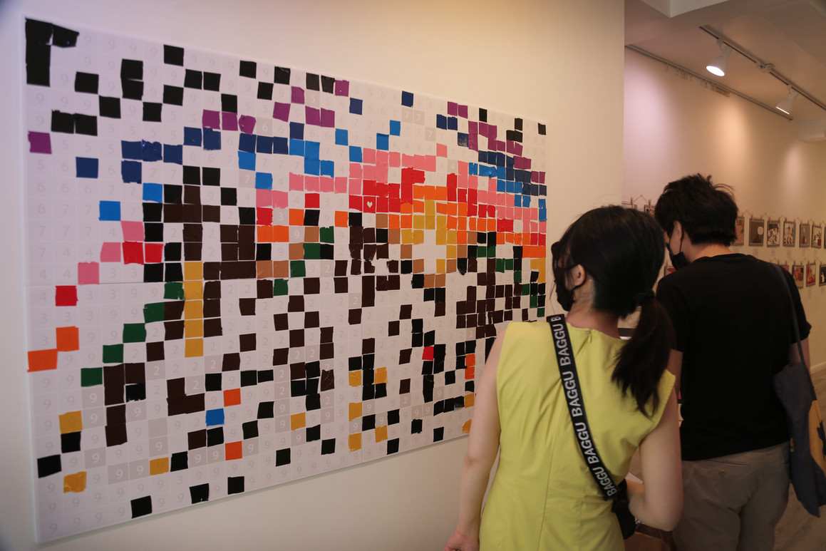 An interactive installation which revealed special graphics after completion   Credit: Thirdblade | http://thirdbladephoto.com/