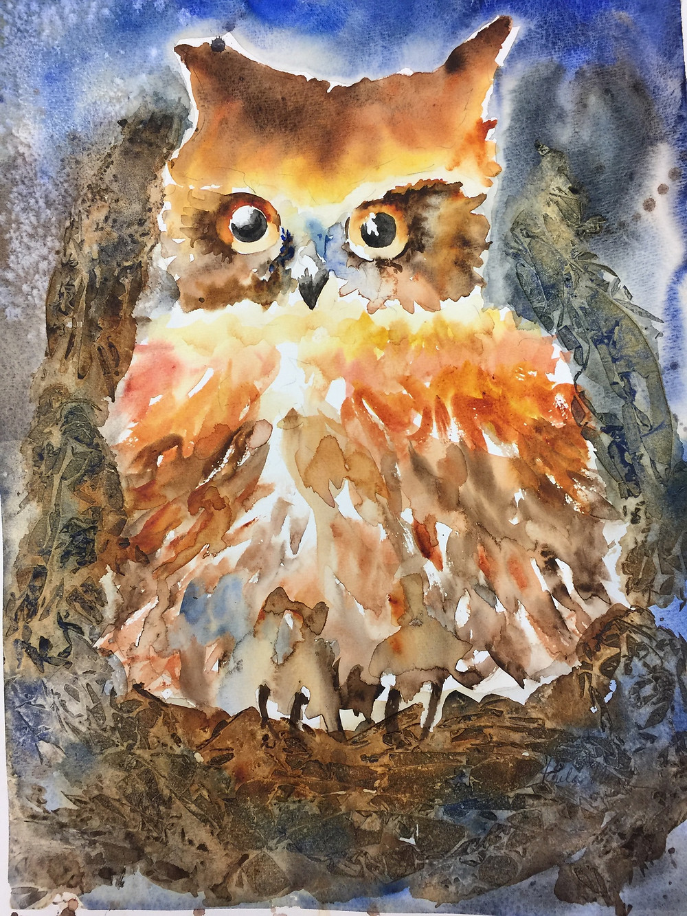 Owl watercolor by Paula Moore Art