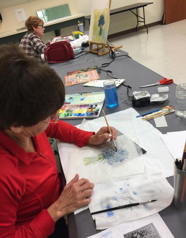 Dana & Betsy apply paint & wax