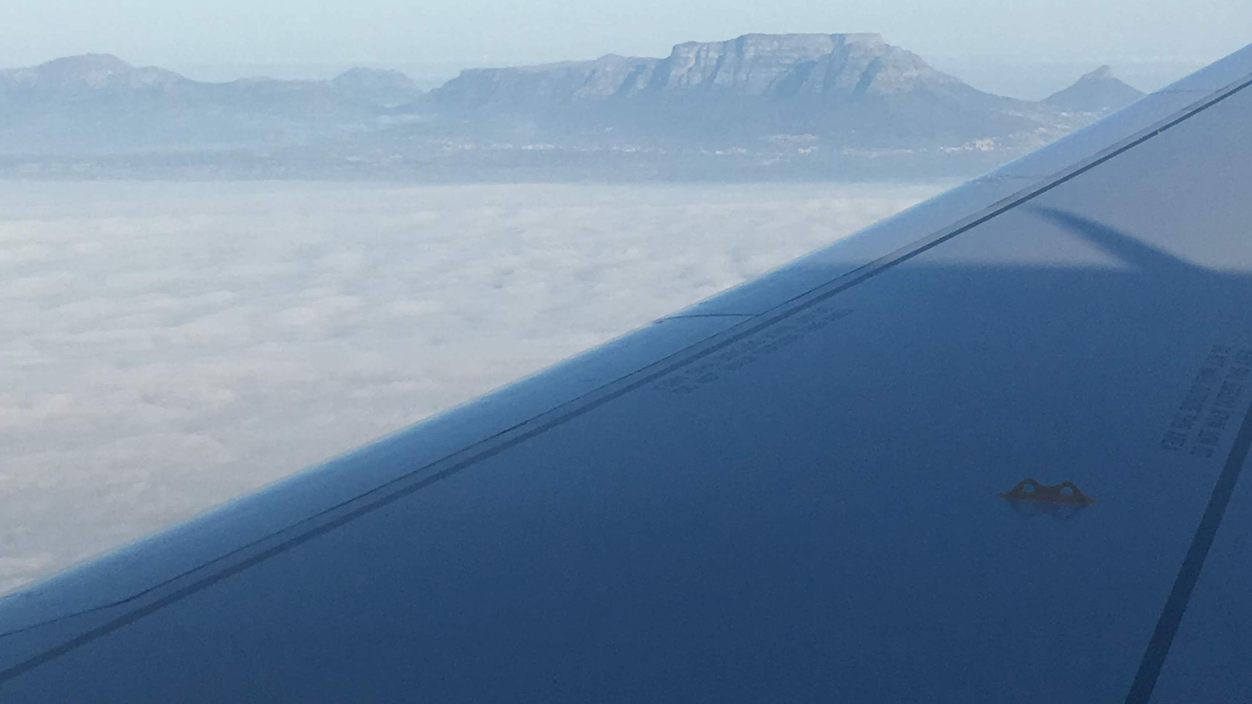 Our first glimpse at the iconic Table Mountain